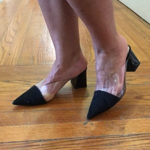 Black clear mules sz 40 pre owned